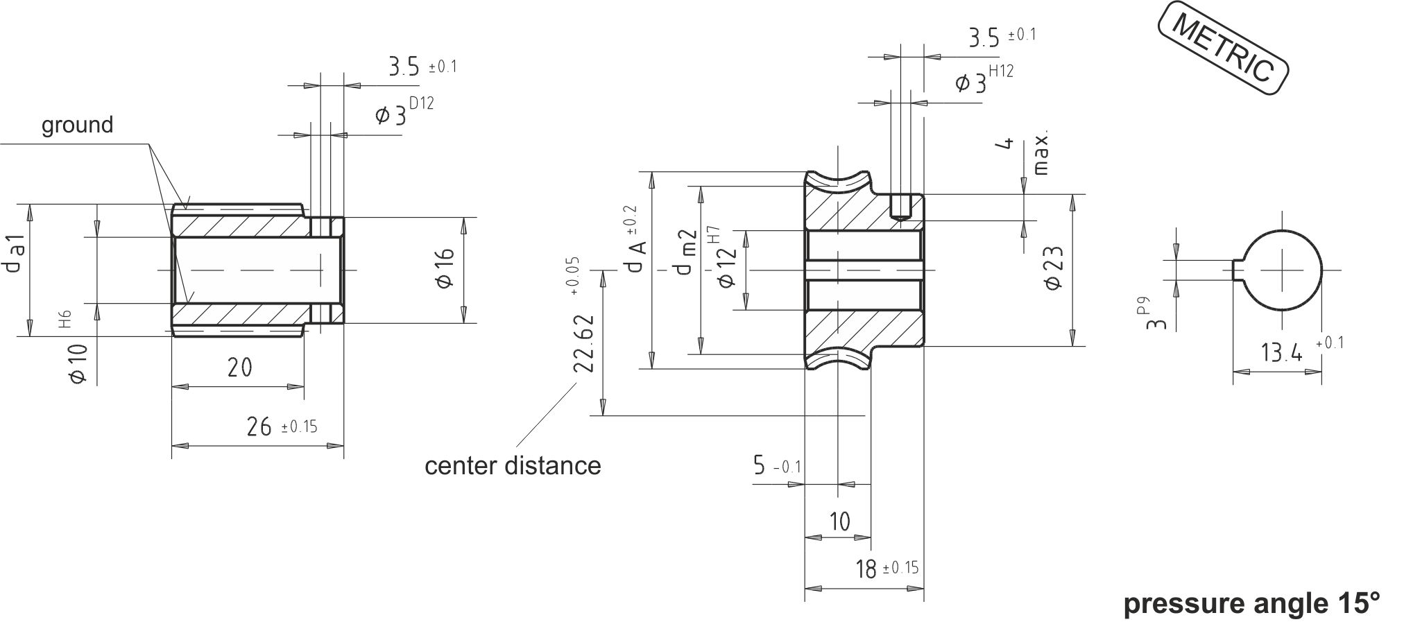 Dimensional drawing Worm Gear Sets A22