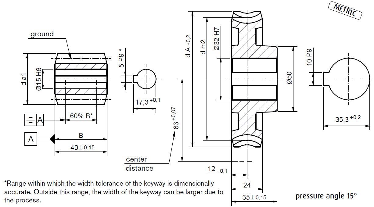 Dimensional drawing Worm Gear Set A63