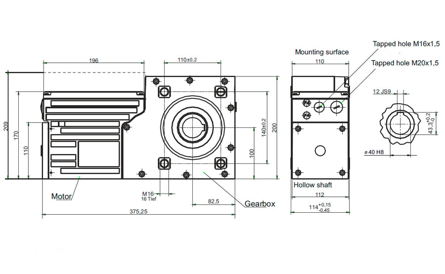 Dimensional drawing Slip-on geared motor Compacta AG160
