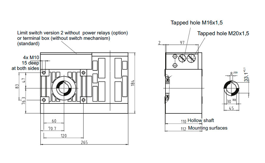 Dimensional drawing for Slip-on geared motor Compacta MR30