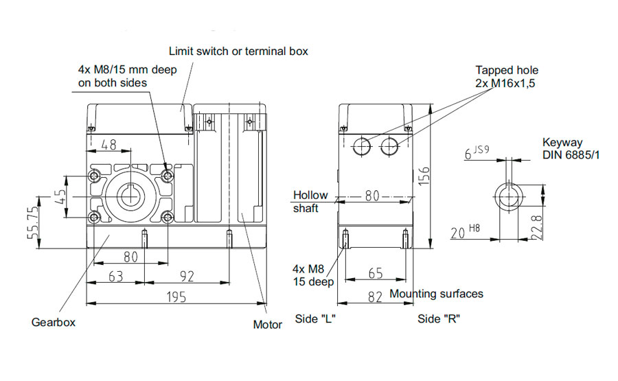 Dimensional drawing for Slip-on geared motor Compacta MR6