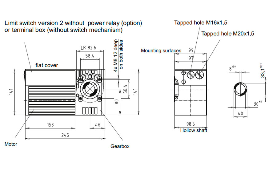 Dimensional drawing for Slip-on geared motor Compacta MS12