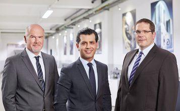 (v.l.n.r.: Gökhan Balkis, Franz Morat Group Genel Müdürü / Dr. Matthias Dannemann, Framo Morat operasyon Genel Müdürü / Jörg Hansen, F. Morat operasyon Genel Müdürü)